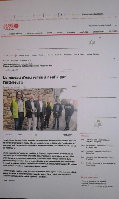 """Publication dans """"Ouest France"""" : Le réseau d'eau remis à neuf """"par l'intérieur"""""""